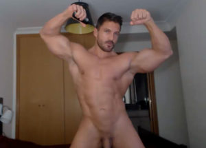 Hot guy naked with body builder