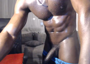 Black guy with muscle and big dick
