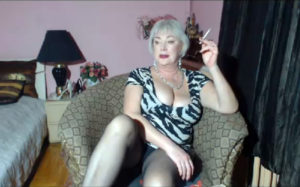 Mature woman smoking in live cam